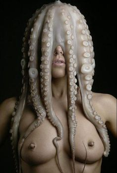 Nude woman with squid