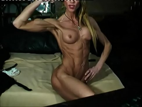 Skinny muscular naked woman